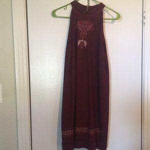 High neck suede shift dress